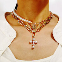 Women Catholic Girl Pearl Cross Choker Collar Hoop Necklace Chunky Chain Jewelry
