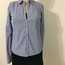 Hollister Women's Clothing shirt Size S color blue with white lines. Long Sleve