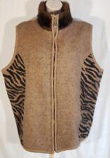 Lisa International Women 3X Brown Animal Print Sleeveless Sweater Vest Zip Wool