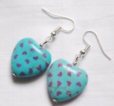 Beautiful handmade gemstone earrings blue turquoise hearts little purple hearts