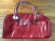 LOOK! NEW BATH & BODY WORKS RED OVERNIGHT / TRAVEL BAG FAUX LEATHER RETAIL $65