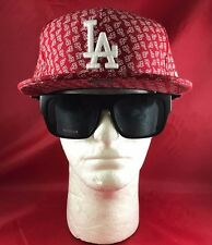 New Era 59Fifty MLB LA Dodgers Fitted Red With LA All Over In White Hat Flat Bil