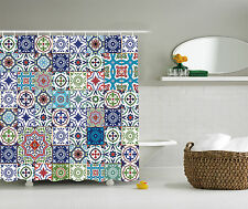 Patchwork Decor Theme Mosaic Ceramic Moroccan Tile Traditional Shower Curtain