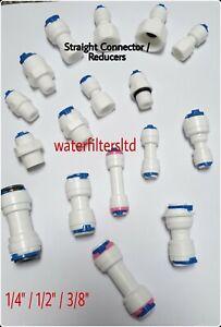 """1/4"""" 1/2""""  3/8"""" Push Fit Pipe Tube straight connectors / Reducers  RO Aquarium"""