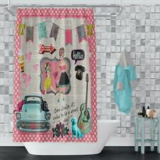 Retro Shower Curtain Geez Louise Good Day by FolkNFunky Extra Long Available