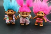 """Vintage ACE 1990s Trolls Troll Hair Small Doll Figure Toy 3-4"""" Lot of 3 Dressed"""