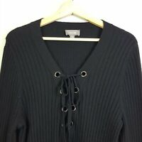 [ SUSSAN ] Womens Black Lace up Ribbed Knit Jumper | Size S or AU 10 or US 6