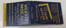 RARE 40s WEAVER BROS INC MORTGAGE BANKERS & REALTORS WASHINGTON DC MATCHBOOK WOW