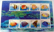 SINGAPORE TROPICAL MARINE FISH DEFINITIVES STAMPS SHEET 9V SEA LIFE OCEAN