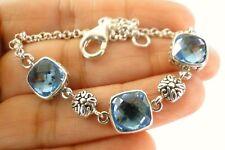 925 Sterling Silver Bracelet Blue Topaz Trio 3-Stone Balinese