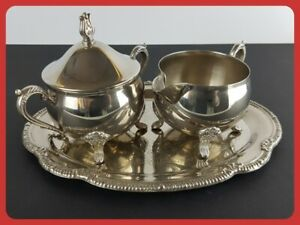 Elegant Shaped Silver Plated Sugar Bowl Milk Jug / Creamer & Tray Set