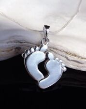 "Sterling Silver 925 Baby Feet Pendant Footprint 16/18/20"" Necklace Gift Box UK"