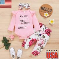 Infant Baby Girls Romper Top Jumpsuit Floral Print Pants Headband Clothes Outfit