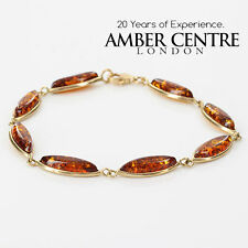 ITALIAN MADE BALTIC AMBER BRACELET IN 9CT GOLD -GBR035 RRP£400!!!