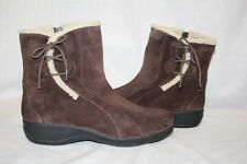 CLARKS Brown Leather Ankle Boots W/Faux Fur Trim Womens Size 10M-B85