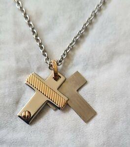 18ct Gold & Stainless Steel Designer Cross Pendant Necklace..ZANCAN ..not scrap