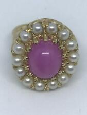 14k Yellow Gold Synthetic Pink Star Sapphire Ring with Pearls