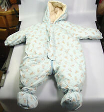 Jacadi Baby Snow Suit bunting Size 6 Months Paris Blue teddy bears