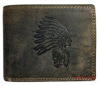 Hochwertige Geldbörse Geldbeutel Portemonnaie Büffel Leder Indianer Motiv
