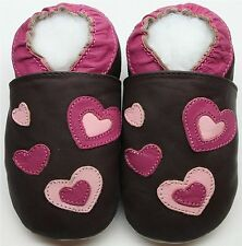 Minishoezoo soft sole leather toddler shoes slippers hearts brown 3-4T