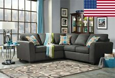 Transitional Modern Neutral Gray Fabric W/Pillows Sectional Sofa Made In USA