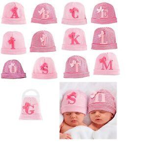 Mud Pie Holiday Initials Baby Girl Newborn Initial Pink Striped Hat 1502198