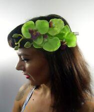Pince clip barette cheveux branche 4 orchidee orchidees fleurs vertes coiffure