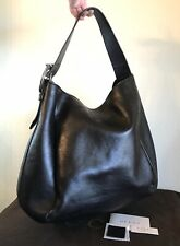 NEW Gucci Large Black Leather Horse Handbag Silver Tote Bag