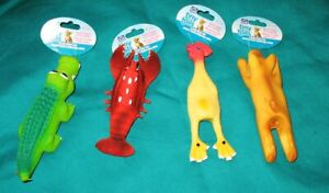 4- Playful Animal Squeezies - Rubber Latex Squeaky Small Dog- Puppy Toys