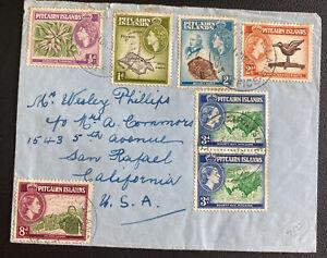 1959 Pitcairn Islands Airmail Cover To San Rafael CA Usa
