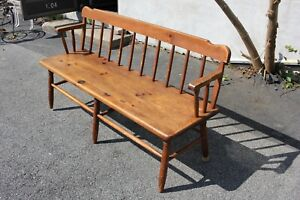 19th Century Long Pine Country Style Bench