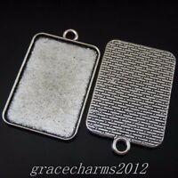 8pcs Vintage Silver Alloy 33x23mm Cameo Base Rectangle Pendants Jewelry 50257