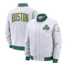 Nike Mens NBA Boston Celtics White Size 3XL Full Zip Bomber Jacket AH5270