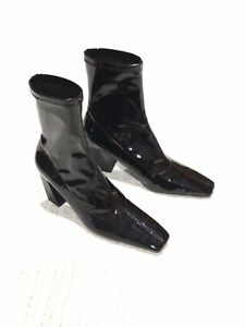 "ZARA Black Patent Leather 3"" Slant Heel Pull On Ankle Boots 36 / 6"