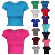 Ladies Womens Mini Bra Plain Crop Top