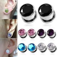 PAIR Steel Crystal Ear Plugs Flesh Tunnel Screw Fit Ear Gauge Expander Piercing