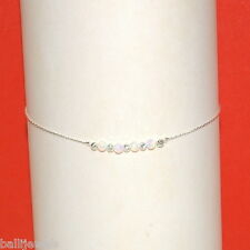 White OPAL Beads Sterling Silver 925 Chain and Beads ANKLET - Made to your size