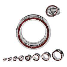 "PAIR-Crystal Red CZ Gems on Steel Screw On Tunnels 16mm/5/8"" Gauge Body Jewelry"