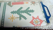 Vintage ADRETTA GERMAN VINYL Tablecloth CROSS STITCH Christmas 53 ''x 43 1/2''