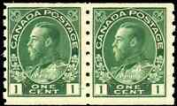 Canada #125 mint F-VF OG NH 1912 King George V 1c green Admiral Coil Pair
