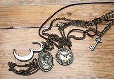 Funky Eclectic Charm Necklace/Novelty/Kitsch/Clock/Heart/Vintage Look/Claires