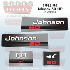 1992-94 Johnson 60 HP Outboard Reproduction 4 Pc Marine Vinyl Decals 3 Cylinder