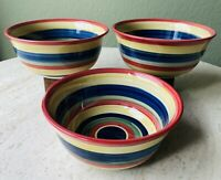 3 SWIRL Hand Painted Collection Soup/Cereal Bowls Bright MultiColor Stripe (3)