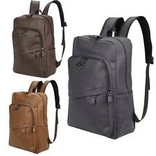Men's Women's PU Leather Backpack Travel Satchel Laptop Rucksack School Bag