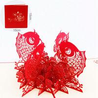 3D Up Grußkarte Chinesisch Neujahr Roter Fisch Viel Glück Reichtum für imme Y8S1