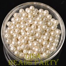 New 300pcs 6mm Round Czech Glass Pearl Loose Spacer Beads Pearl White