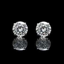 4CT Brilliant Created Diamond Earrings Solitaire Studs 14K White Gold Screwback