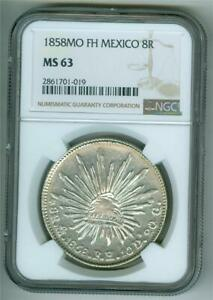 MEXICO 1858 MO FH 8 REALES NGC MS-63 BU SCARCE CONDITION