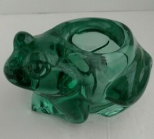 Vintage Indiana Glass Spanish Green Sitting Frog Votive Candle Holder Tea Light