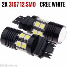 2X 3157 White 6000K Back Up Reverse Projector Cree+12-SMD Chip LED Lights Bulbs